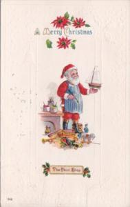 Christmas Santa Claus With Red Robe Making Toys 1914