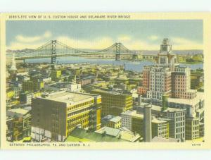 Linen BRIDGE SCENE Camden New Jersey & Philadelphia Pennsylvania PA HQ9963