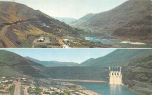 Idaho ID   BROWNLEE DAM On SNAKE RIVER  Before & After Construction  Postcard