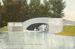 Milwaukee Wisconsin~Boat Going Under New Concrete Bridge`Washington Park~1910 PC