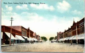 Kingman, Kansas Postcard MAIN STREET, Looking North from Mill Downtown 1913