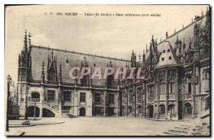 Old Postcard Rouen Courthouse courtyard