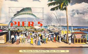 Miami FL Ice Cream Stand @ Pier 5~Huge Game Sailfish Sign~Fishing Boats 1940s