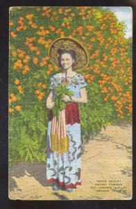 TEXAS BEAUTY RIO GRANDE VALLEY RIVER ORCHARD PRETTY WOMAN VINTAGE POSTCARD