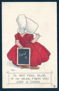 Sunbonnet Girl 'Luv on the Chalkboard' unused c1920
