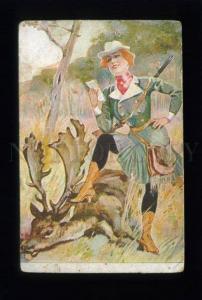 163561 Lady HUNTER Deer HUNT Vintage Kleine Witzblatt 1903 PC