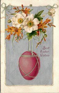 c 1910 Postcard Winsch Easter Greeting Large Pink Egg Hanging White Gold Flowers