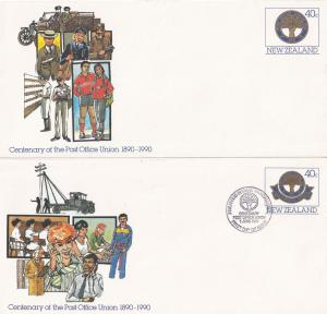 Centenary Of Post Office Union 1990 New Zealand FOUR First Day Cover s