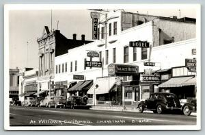 Willows CA~Main Street~Palace Hotel~JC Penney Store~Greyhound Bus Cafe~1940 RPPC
