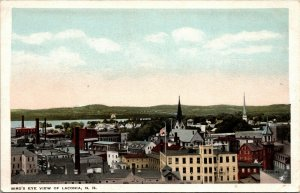 LACONIA NH - RARE OLD POSTCARD - BIRDS EYE VIEW - VINTAGE