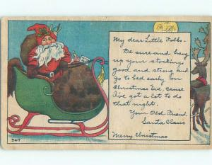 Pre-Linen christmas SANTA CLAUS IN SLED WITH REINDEER & MAN IN THE MOON W6886