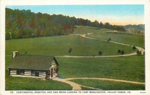 Vallley Forge Pennsylvania~Continental Hospital Hut & Drive~Open Field~1920s PC