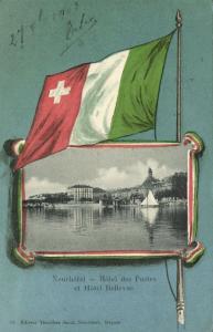 switzerland, NEUCHATEL, Hotel des Postes et Hotel Bellevue, Flag Postcard (1903)