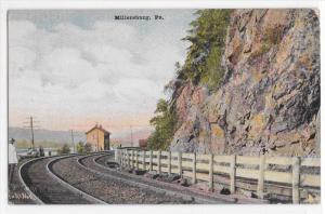 Vintage Postcard 1909 Millersburg PA Around Bend Railroad Tracks Dauphin County