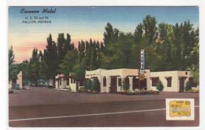Cannon Motel US 50 95 Fallon Nevada linen postcard