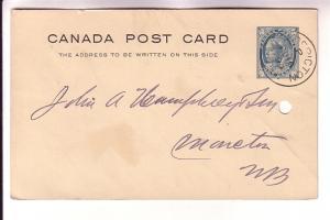 Canadian Postal Stationery Victoria Maple Leaf 1Cent 1899 Fredricton, New Bru...