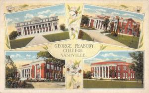 Nashville Tennessee George Peabody College Multiview Antique Postcard K12414