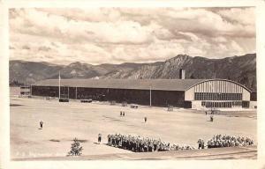 Camp Waldron Idaho birds eye view Regimental Drill Hall real photo pc Y13669