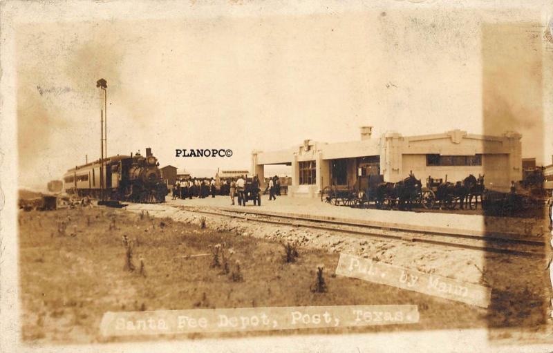 POST, TEXAS SANTA FE TRAIN DEPOT EARLY 1900'S RPPC REAL PHOTO POSTCARD