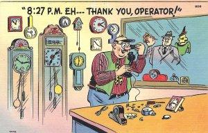1940's Comic Cartoon Clock Phone Operator Linen Postcard