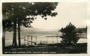 Andrews 1920s Boat Landing Pier Payette Lakes Idaho RPPC real photo 9367