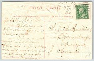 EAS New Year~Angel in Belfry Pulls Rope on 1910 Bell~Shamrocks & Coins~Embossed