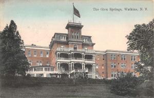 Watkins New York Glen Springs Street View Antique Postcard K91004