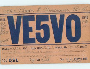 1930s QSL RADIO CARD Vancouver British Columbia BC AH3150