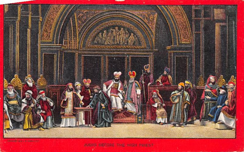 Religious Postcard Judas Before The High Priest Unused