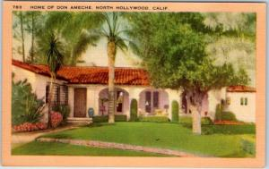 North Hollywood, California Postcard Home of Don Ameche Linen c1940s Unused