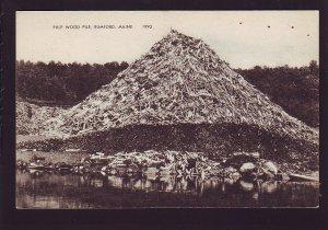 P1626 old unused postcard pulp wood pile rumford maine