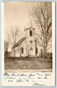 Mediapolis Iowa~Swedish Lutheran Church~Fenceposts Along Walkway~1906 RPPC