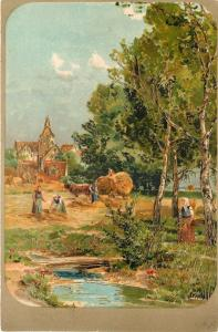 PFB~Workers In Hay Field~Small Footbridge Over Stream~Town~Gold Leaf~Emb~Germany