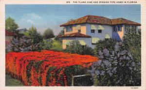 The Flame Vine and Spanish Type Home in Florida, Early Postcard, Unused