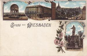 Gruss aus WIESBADEN, Hesse, Germany; 4-Views, Pink flowers, 00-10s