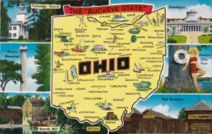 Map Of Ohio The Buckeye State 1958