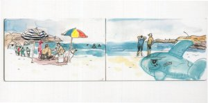 Habonim Beach Isreal Inflatable Toy Whale Sketch Painting Postcard