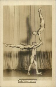 Apollo Trio Semi Nude Men Beefcake Strong Men Gymnasts c1910 RPPC xst