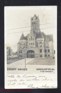 RPPC GREENFIELD INDIANA COUNTY COURT HOUSE CUYLER VINTAGE REAL PHOTO POSTCARD