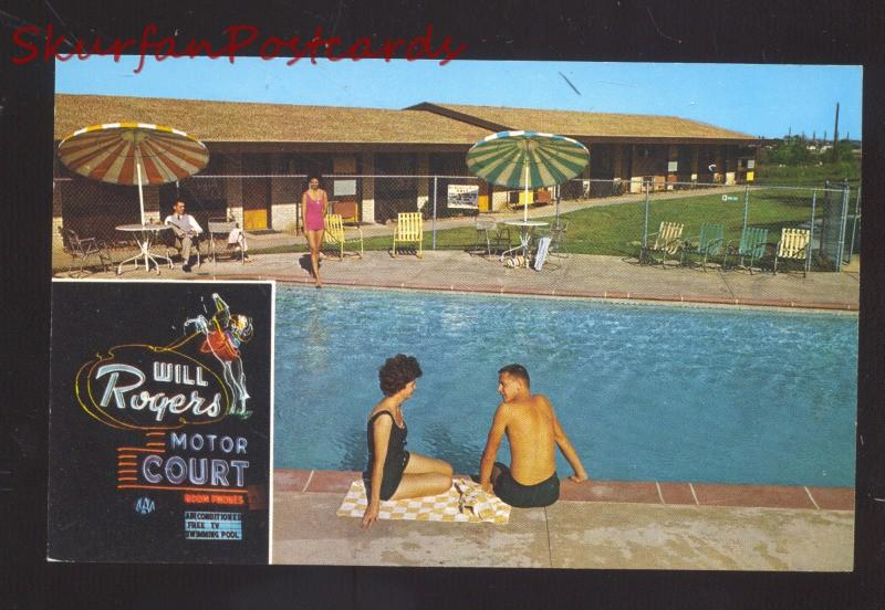 RULSA OKLAHOMA ROUTE 66 WILL ROGERS MOTEL SWIMMING POOL OLD POSTCARD