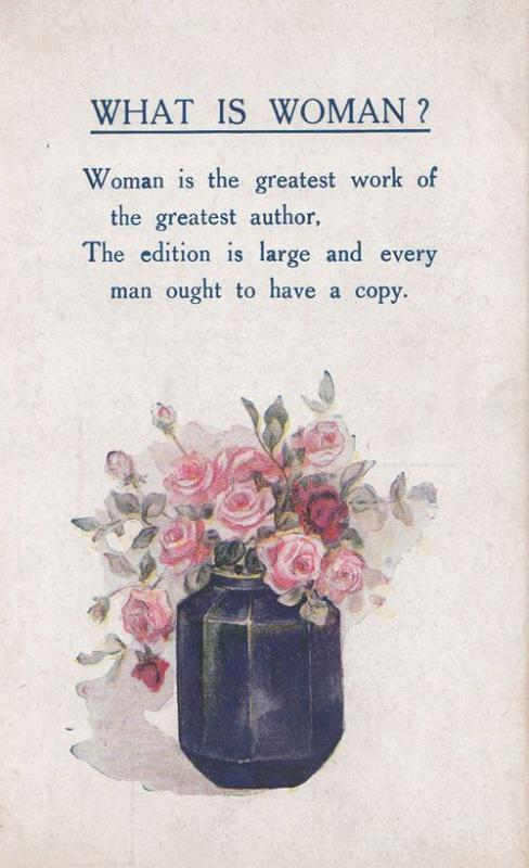What is A Woman Understanding Women Antique Songcard Author Love Ladies Postcard