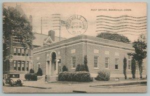 Rockville Connecticut~Post Office Exterior View~Vintage Postcard