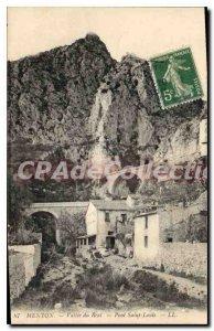 Old Postcard Menton Vallee Real Bridge Saint Louis