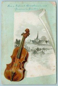 St Louis Missouri~JA Pozzoni Complexion Powder~Violin on Country Scene~1890s VTC