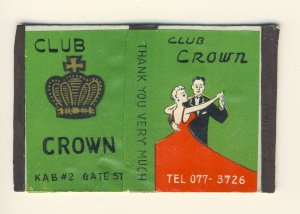 Club Crown Bar/Lounge Match Box, Koza, B.C., Okinawa, Japan, 1950's?