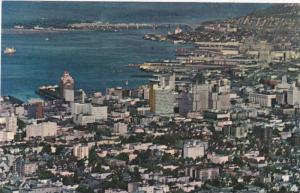 Aerial view showing the busy City & Harbour looking to 2nd Narrows Bridge,  V...