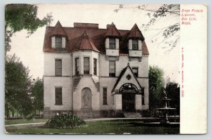 Bay City Michigan~Sage Public Library~Reading Room~Fountain in Front~1909