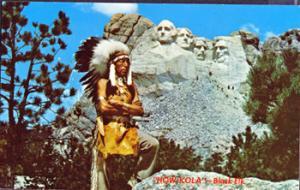 MT RUSHMORE & BLACK ELK, Indian Warrior 1950s / How Kola