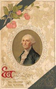 Patriotic~George Washington~Portrait~Tan & Hunter Green~Gold Leaf Emboss~Winsch
