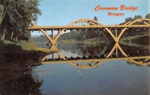 Grants Pass Oregon~Caveman Bridge~Rogue River~1960s Postcard